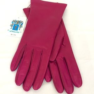 PORTOLANO Pink Cashmere Lined Napa Leather Gloves